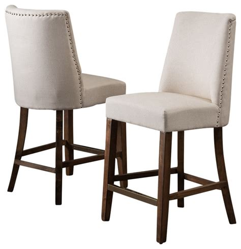 linen nailhead bar stools rydel nailhead accent linen beige fabric stools set of 2