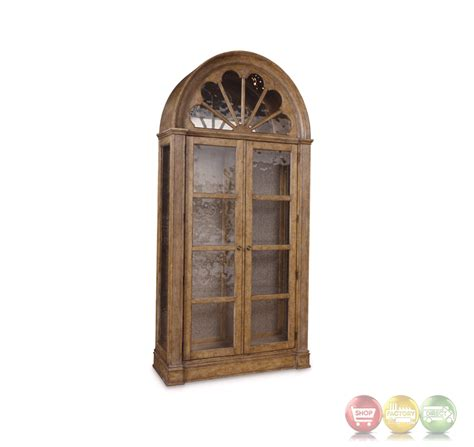 Pavilion Arched Coastal Pine Curio Cabinet With Barley Finish