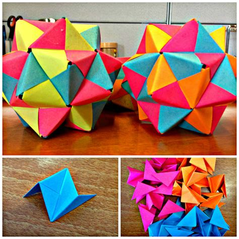 5 Note Origami - post it origami icosahedron 11 steps