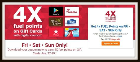 Gift Cards At Kroger List - 4x fuel points on gift cards at kroger this weekend must download coupon kroger