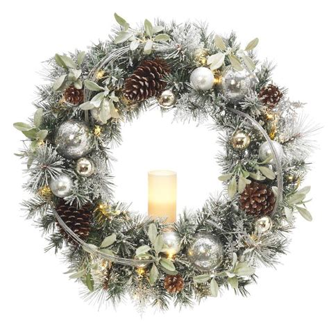 battery led wreath lights 30 in battery operated snowy silver pine artificial