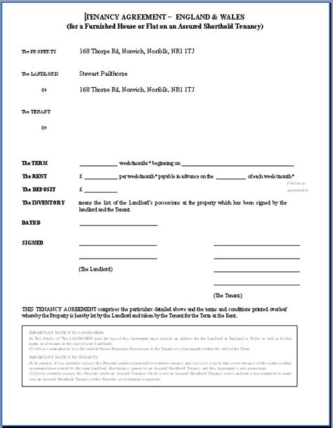 shorthold tenancy agreement template tenancy agreement template uk blank tenancy agreement
