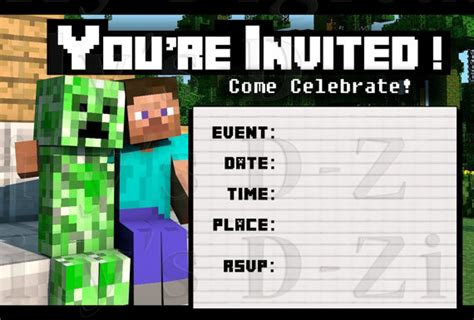 Minecraft Birthday Invitations Free Template 40th birthday ideas free printable minecraft birthday