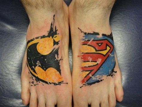 cool batman tattoos batman superman foot project