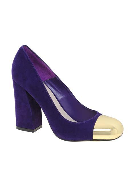 purple suede high heels asos suede high heels with metal toe cap in purple lyst