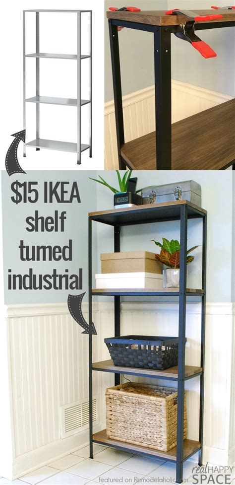 ikea shelf hack remodelaholic wood and metal ikea hack industrial shelf