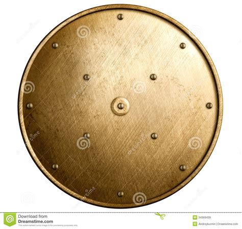 bronze round round bronze shield isolated stock image image of rivets