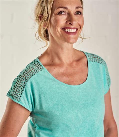 Sleeve Crochet T Shirt turquoise womens crochet sleeve t shirt woolovers uk