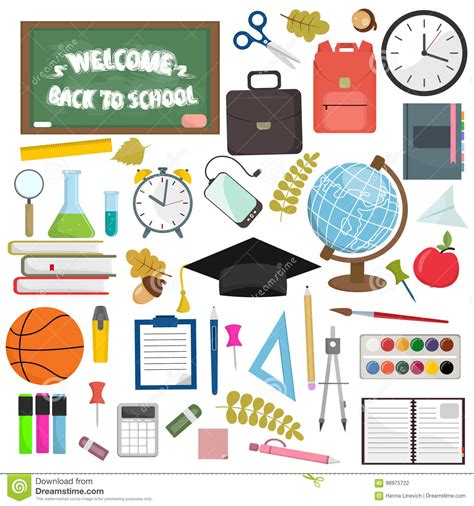 school supplies illustration inspiration pinterest school and education workplace items vector flat