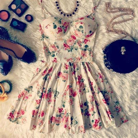 bustier dress fashion vintage floral girly
