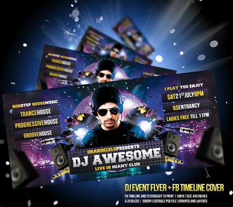 dj event flyer fb timeline cover by grandelelo on deviantart