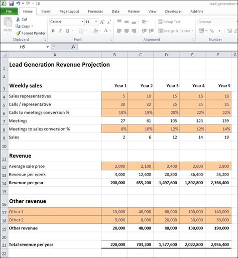 lead generation revenue projection plan projections