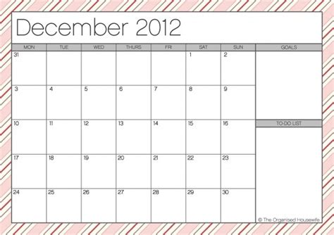 december 2012 calendar uk printable free printable december 2012 calendar with to do list