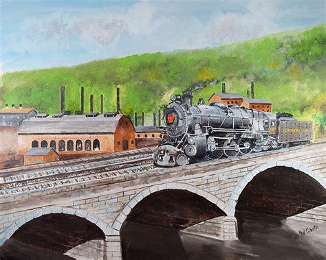 prr k4 crossing bridge johnstown pa painting by paul cubeta