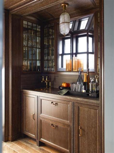 wood clad alcove light brown cerused oak bar