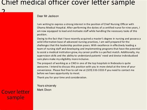 Chief Nursing Officer Cover Letter by Chief Officer Cover Letter