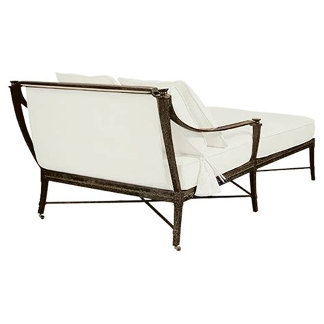 outdoor double chaise lounge with canopy jane modern french white canopy metal outdoor double