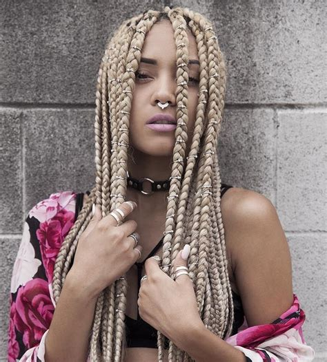 blonde braids on black women 60 totally chic and colorful box braids hairstyles to wear
