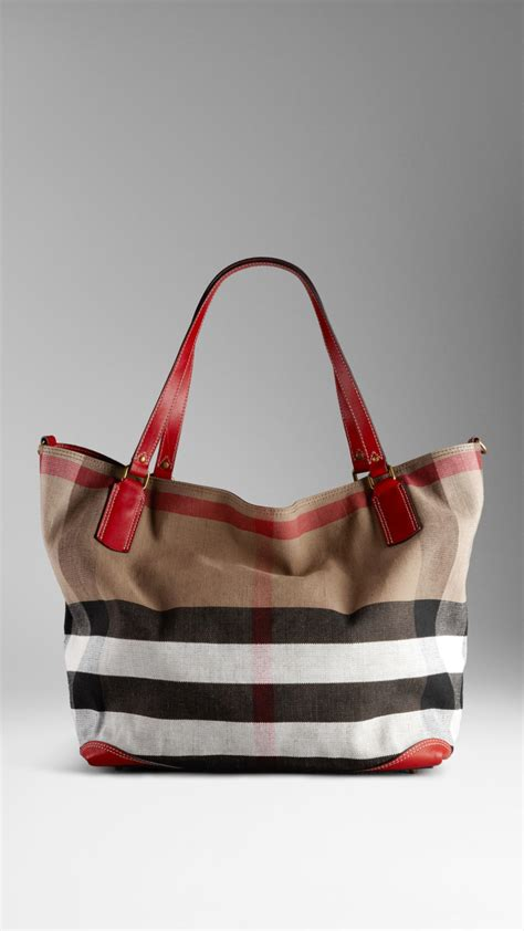 Burberry Canvas Floral Tote by Lyst Burberry Large Check Canvas Tote Bag