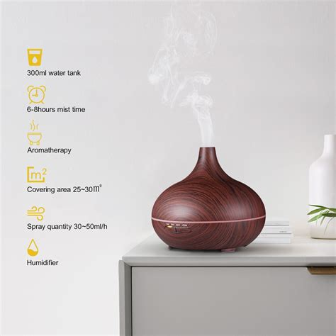 victsing ml essential oil diffuser wood grain