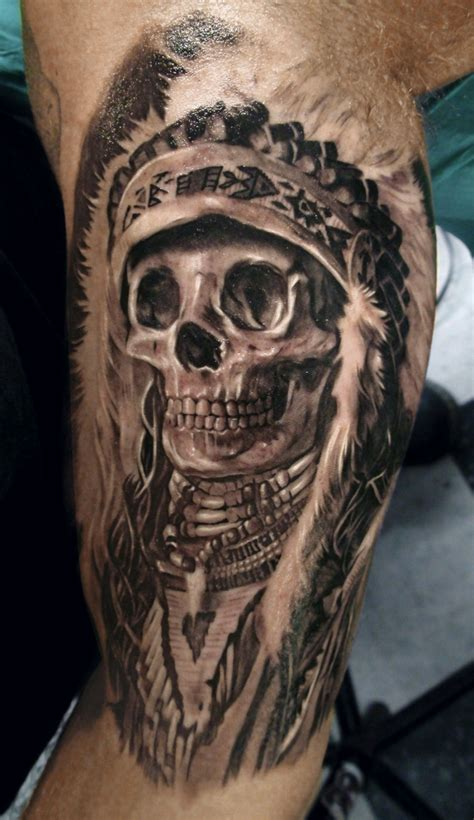 cool tattoos designs for guys cool indianer skull design for