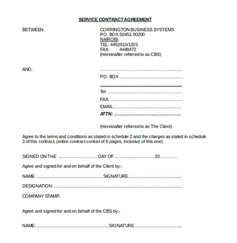 contract agreement templates word  pages  premium templates