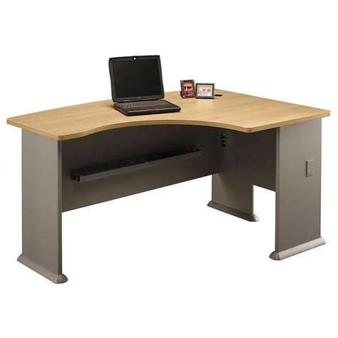 bush business series a 60w x 44d rh l bow desk in light