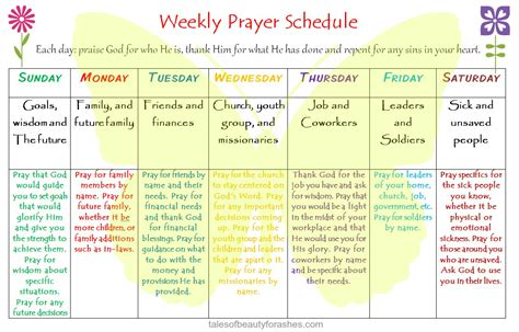 Weekly Prayer Schedule Tales Of Beauty For Ashes Prayer Schedule Template