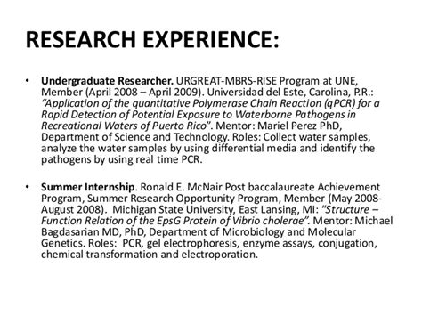 Research Experience Resume by Research Experience Resume Resume Ideas
