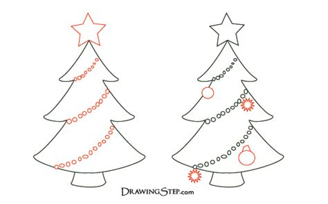 how to draw christmas tree tree drawings