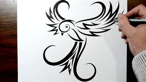 swallow tribal tattoo how to draw a bird tribal design style