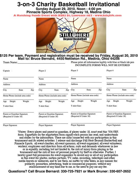Beyondbasketball Registration Form Click To Enlarge And Print Basketball Tournament Registration Form Template