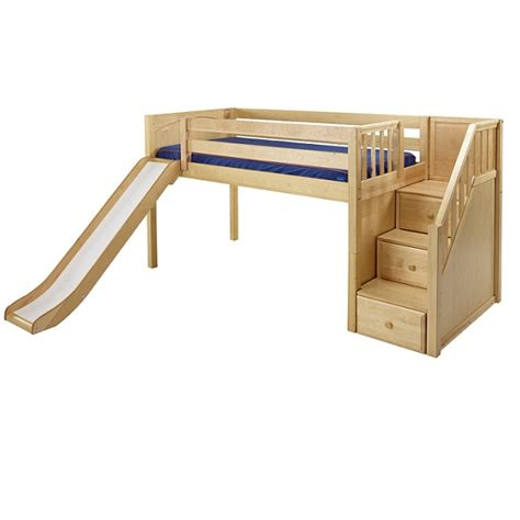 low loft bed quot delicious quot hardwood low loft bed with stairs and slide