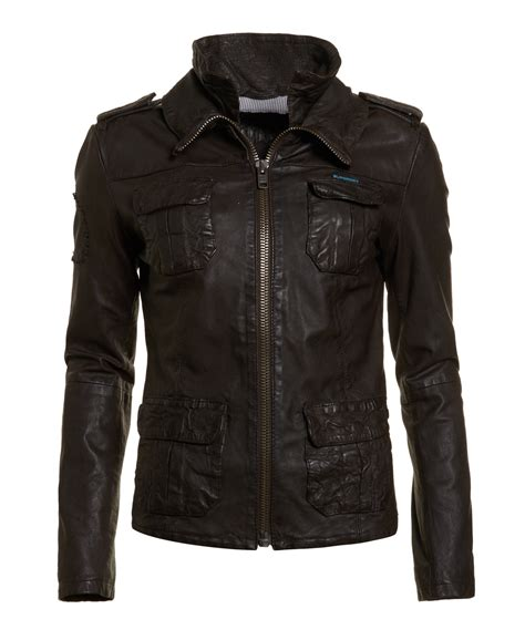 Superdry Leather Brown new womens superdry ramona leather jacket brown ebay