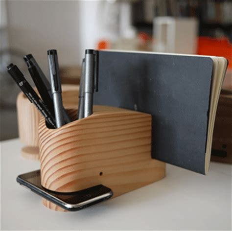 Cool Desk Organizer Wood Whale Holds An Iphone In Its Craziest Gadgets