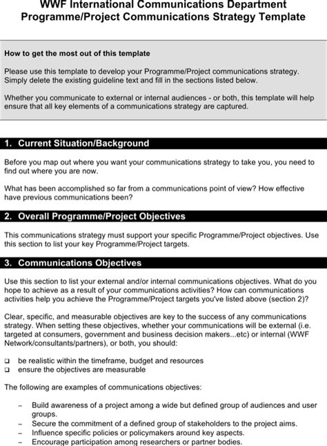 Download Communication Strategy Template Another Copy For Free Page 6 Formtemplate Copy Strategy Template