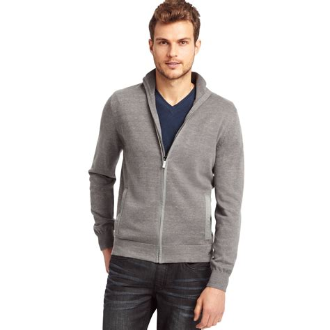 Sweater Zipper kenneth cole sleeve space dyed zipper sweater in gray for grey lyst