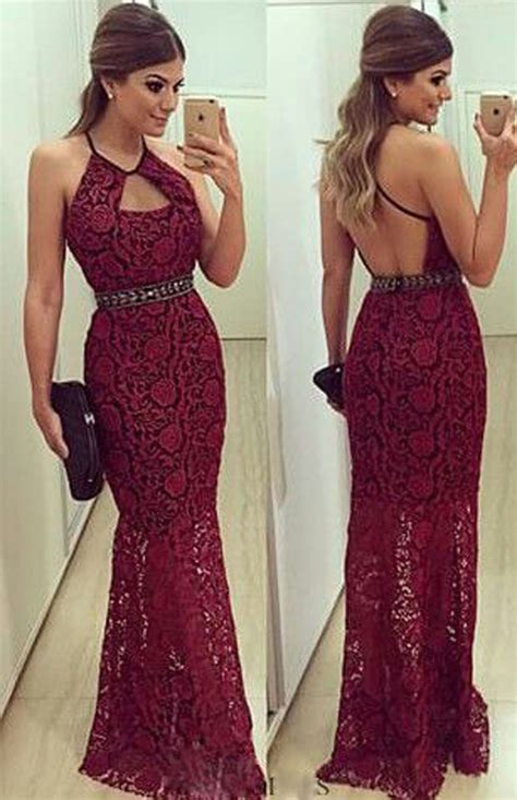 most popular prom colors for 2015 newest lace mermaid halter 2018 prom dress sleeveless