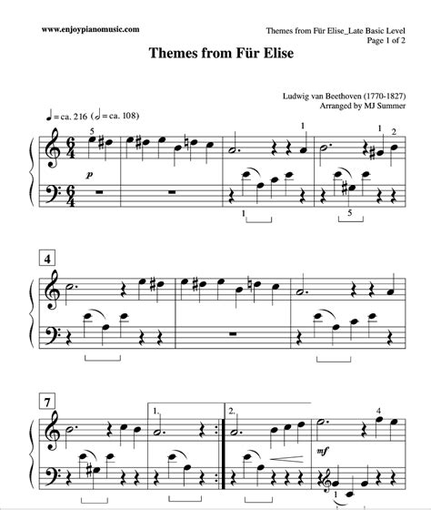 tutorial piano fur elise easy fur elise sheet music for kids or beginners