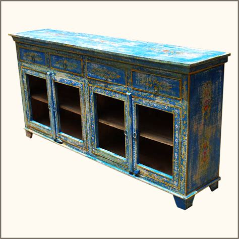 wood distressed painted sideboard dining room buffet table