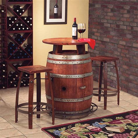 Vintage Oak Wine Barrel Bistro Table Vintage Oak Wine Barrel Bistro Table Bar Stools Wine Enthusiast