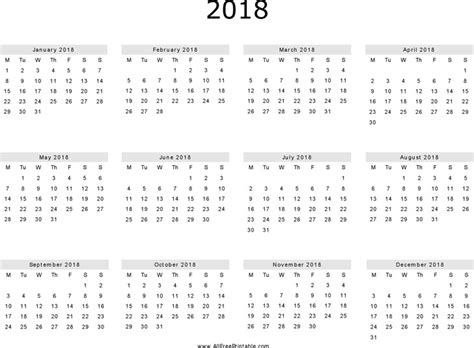 Printable Yearly Calendar 2018 Yearly Calendar 2018 Free Premium Templates