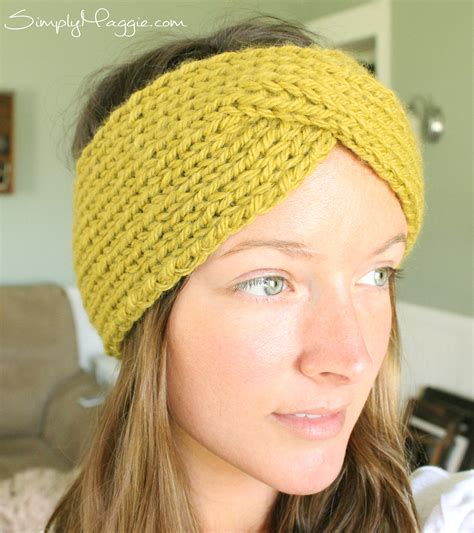 free pattern knitted headband turban style knit headband simplymaggie com