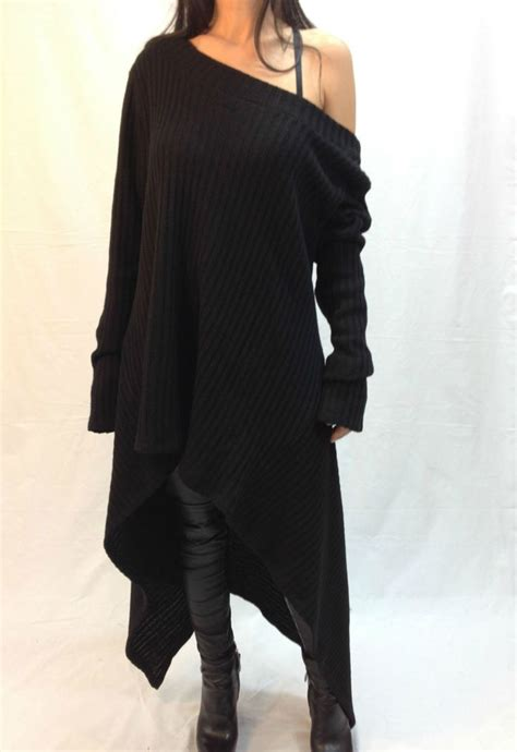And Sweater I Black black asymmetrical sweater top sweater dress knitwear