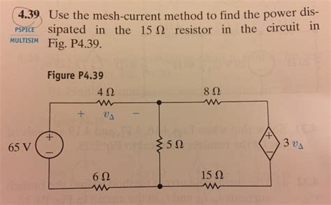 determine the power dissipated by the 40 ohm resistor use the mesh current method to find the power diss chegg