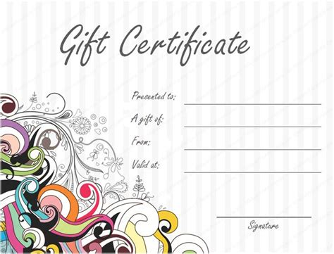 printable numbered gift certificates spa gift certificate template professional and high