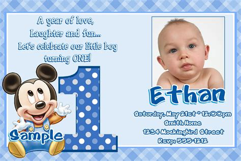 1st Birthday Invitation Card In Jb24 Baby Mickey Mouse 1st Birthday Invitations