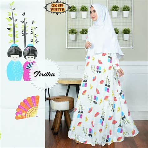 Busana Muslim Syari Terbaru Neala Gz Tunik Wanita Baloteli Var Color gamis motif unik terbaru gz819 putih model baju gamis