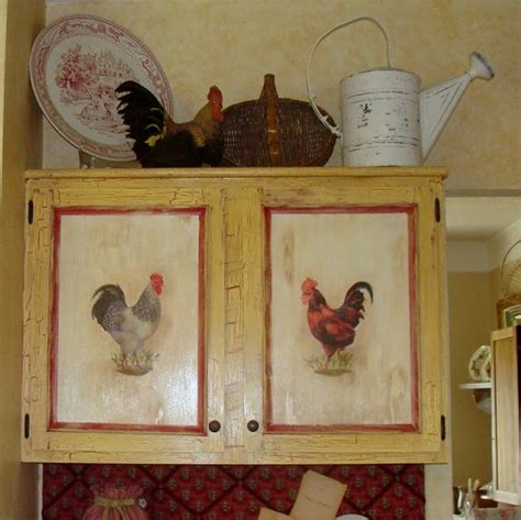 Decoupage Kitchen Cabinets - the decorating diaries rooster