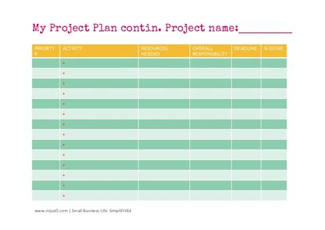 small project plan template small business project plan template